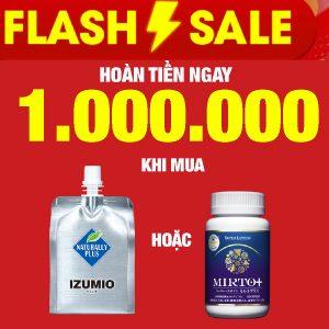 Flash Sale - Hoàn tiền ngay 1.000.000 tiền mặt khi mua 1 thùng Izumio 48 hoặc 1 lọ Super Lutein Mirto + tùy chọn 3