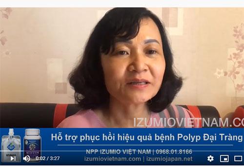 Bệnh Polyp đại tràng phục hồi hiệu quả khi sử dụng nước hydro Izumio và super lutein mirto + 11